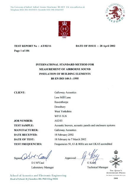 UKAS Test Certificates